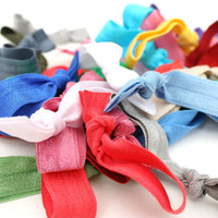 Ribbon Hair Tie Grab Bag (10)  - Elastic No Tug Hair Ties - Knotted Hair Tie - Emi Jay Inspired Hair Bands, Ponytails - Girls Accessories