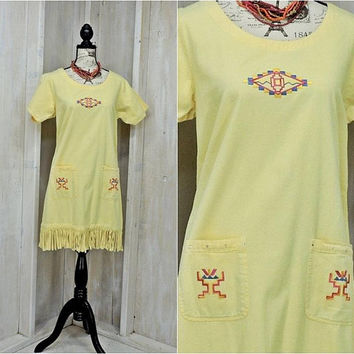 Southwestern tunic dress / size S / M / fringed / tribal / boho / cowgirl / loose fit / cotton