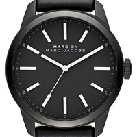 Men's MARC BY MARC JACOBS 'Dillon' Leather Strap Watch, 44mm - Black