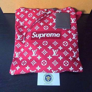 Supreme X LV Louis Vuitton Trending Women Men Loose Monogram Embroidery Box Logo Hoodie Pullover Top Sweater I/A
