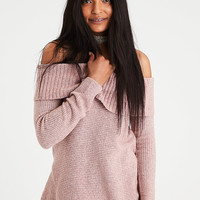 AE Off-the-Shoulder Foldover Sweater, Black