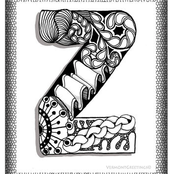 Zentangle Z Monogram Alphabet Illustration Art Print by Vermont Greetings