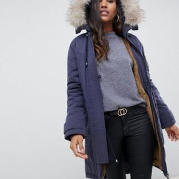 ASOS DESIGN luxe parka with faux fur trim | ASOS