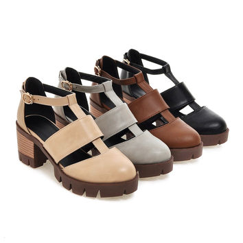 Casual Sandals Pu Leather Pumps Platform High-heeled Shoes Woman