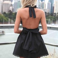 Black Halter Dress with Open Back & Tie Bow Detail
