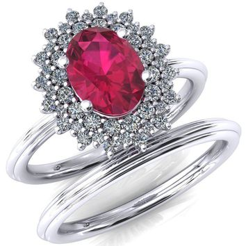 Eridanus Oval Lab-Created Ruby Cluster Diamond Halo Wedding Ring