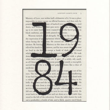 1984 Nineteen Eighty-Four Book Page Beautifully Matted Gift Decor