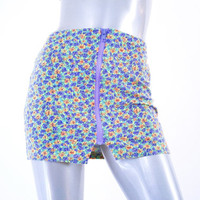 90s 80s neon dayglo floral zip up sports miniskirt skirt, 1990s 1980s rave active wear fashion clothing, spring 2014 urban retro retrofit