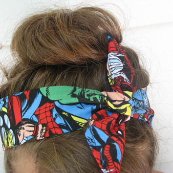 SALE!!! Marvel Comics, Headband,Hair Accessorie, geekery, bandana, Avengers, clothing, bow, spider man, hulk, captain America, iron man
