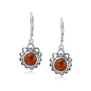 Filigree Round Red Coral Bezel Gemstone Drop Earrings Sterling Silver