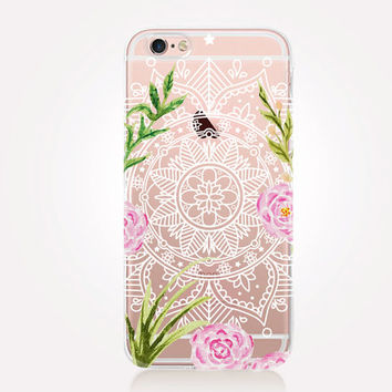 Transparent Floral-Mandala iPhone Case - Transparent Case - Clear Case - Transparent iPhone 6 - Gel Case - Soft TPU Case - Samsung S7