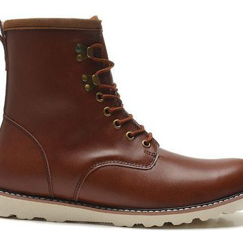 LFMON UGG 3240 Tall Lace-Up Men Fashion Casual Wool Winter Snow Boots Chestnut