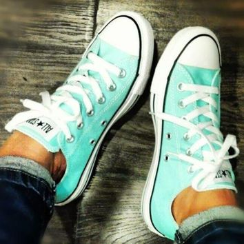 LMFUG7 Converse' Fashion Canvas Flats Sneakers Sport Shoes Low tops Mint Green