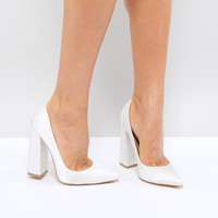 Be Mine Bridal Adeline Ivory Satin Block Heeled Pumps at asos.com