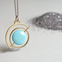 the Satellite Gyroscope necklace - turquoise howlite