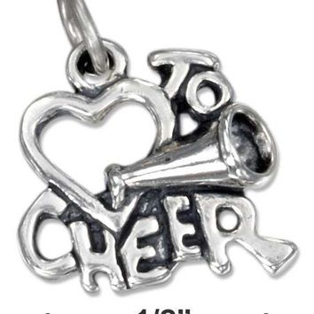 "Sterling Silver Charm:  Heart ""to Cheer"" Charm"
