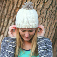 Chunky Knit Hat with Pom Pom - Women's Cream Hat With Taupe Pom Pom - Many Colors Available