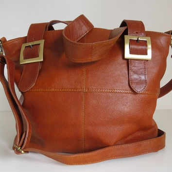 Leather Tote Handbag Messenger Tan
