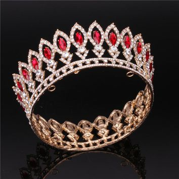 Cool Rhinestone Queen King tiara Crown Bridal Wedding Jewelry Tiaras and Crowns for Women Head Ornament Pageant Hair accessoriesAT_93_12