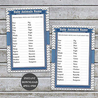 Baby Animal Match, Baby Animals Name Game Boy baby Shower Games Printable  DIY Animal Match Game Who's My Mama Instant Download (57b)