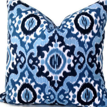 Decorative Pillow - Throw Pillow - 18x18 20x20 12x20 - Ikat Fabric - Navy and Cream - Accent Pillow - Dear Stella Fabric