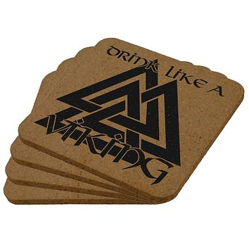 Drink Like A Viking Valknut Symbol Of Odin Square Cork Coaster (Set of 4)