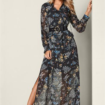 Chiffon Maxi Dress in Black Multi | VENUS