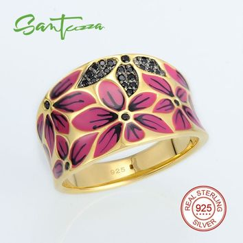 Silver Rings for Women Flower Enamel Black-Spinels Pure 925 Sterling Silver Ring  Fashion Jewelry HANDMADE