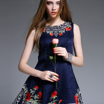 Navy Floral Pattern Cut Out Sleeveless A-line Mini Skater Dress