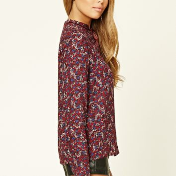 Button-Front Floral Top