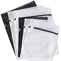 HOPDAY Delicates Mesh laundry Bags, Super Premium Quality Bra lingerie Protection Washing Drying Bag with Rust Proof Flow Zipper, Set of 6 (3 Medium & 3 Large)-Black & White