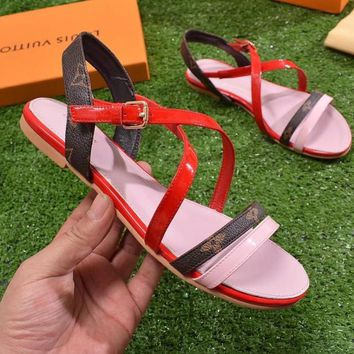 LV Sandals Women ''Louis Vuitton'' Slippers LV Fashionable casual Shoes B-ALS-XZ Red