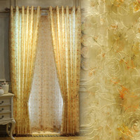Europe Upscale Organza Embroidered Floral Tulle And Shade Cloth Made-up Curtains For Living Room Home Decoration Textile