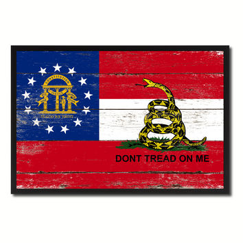 Gadsden Don't Tread On Me Georgia State Military Flag Vintage Canvas Print with Picture Frame Home Decor Man Cave Wall Art Collectible Decoration Artwork Gifts