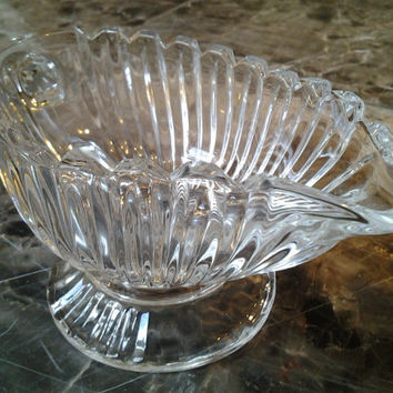 Vintage Fostoria Glass Creamer Gravy Boat Cream Pitcher Beautiful Vintage Glass