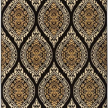 5095 Black Damask Area Rugs
