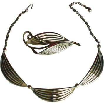 Vintage Retro 1940s Napier Sterling Silver Choker Necklace and Brooch Set