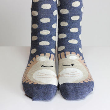 Lion Socks White Polka Dot Blue Socks Cute Women Girls Boys Socks Women Socks Funny Socks Ankle Socks Animal Socks Cute Fun Socks Cotton