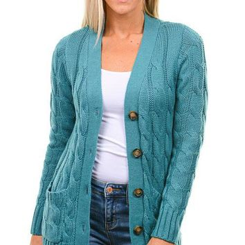 Teal Cable Knit Button Down Cardigan