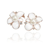 18K Rose Gold Plated Pearl Centered Asymmetric Petals White Flower Stud Earrings