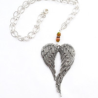 Angel Wings Charm Necklace, Silver Jewelry, Large Wings Pendant