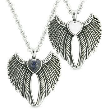 Angel Wings Magic Hearts Love Couples or Best Friends Blue Goldstone White Simulated Cats Eye Necklaces