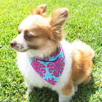 Pink and Aqua Brocade Dog Bandanna