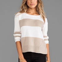 DUFFY Cashmere Stripe Sweater in White/Mink Heather from REVOLVEclothing.com