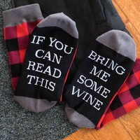 Bring Me Some Wine Buffalo Plaid Socks