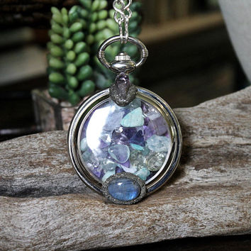 Gemstone Pocket Watch Necklace w/ Labradorite, Amethyst, Fluorite, Grape Agate, Amazonite, Tibetan Quartz Crystals, Celestite, Aquamarine