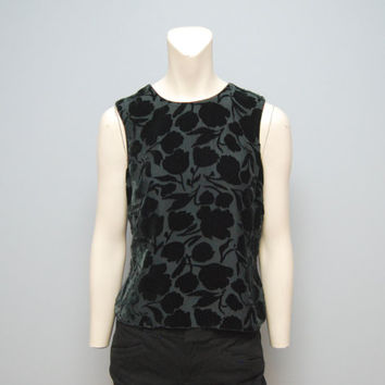 Vintage 1990's Banana Republic Sleeveless Shirt Tank Top Black Velvet Floral Print - Buttons in Back Size 6