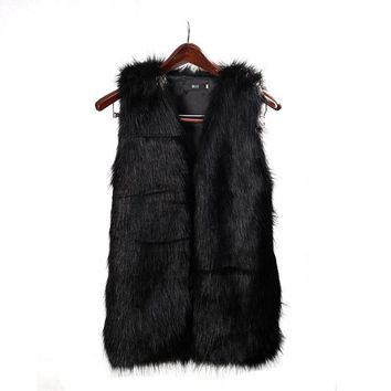 2016 Fashion Women Faux Fur Vest Special Slim long fuax fur Coat women XXL Gilet Fourrure Rabbit Black/Red/Brown