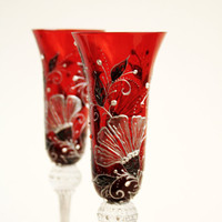 Red Champagne Wine Glasses Hand Painted Swarovski Crystals set of 2 Vintage Look Silver Plomb White