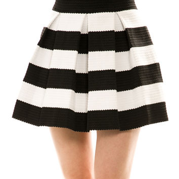 Striped Print Skater Skirt